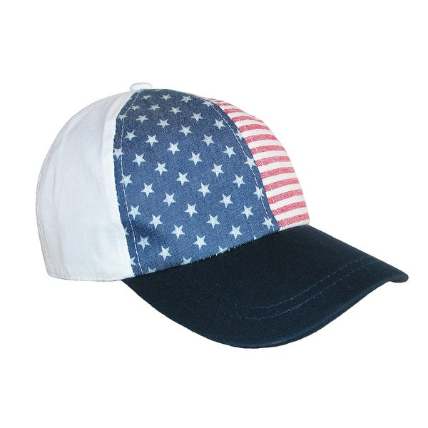David & Young Cotton American Flag USA Structured Baseball Cap - One size