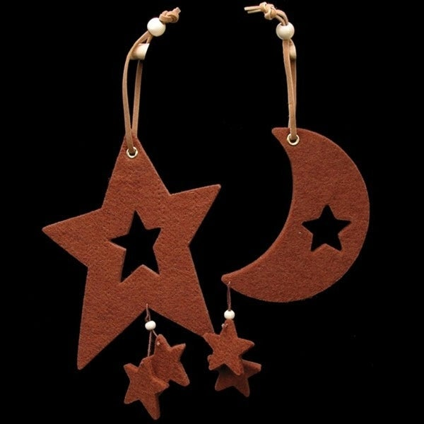 Club Pack of 18 Chocolate Brown Large Moon & Star Felt Ornaments