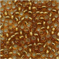 Toho Round Seed Beads 8/0 22C 'Silver Lined Topaz' 8 Gram Tube