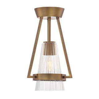 "Designers Fountain 88911-OSB Montelena 1 Light 9"" Wide Ceiling Fixture with Clear Ribbed Glass"