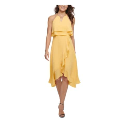 KENSIE Yellow Sleeveless Below The Knee Dress 4