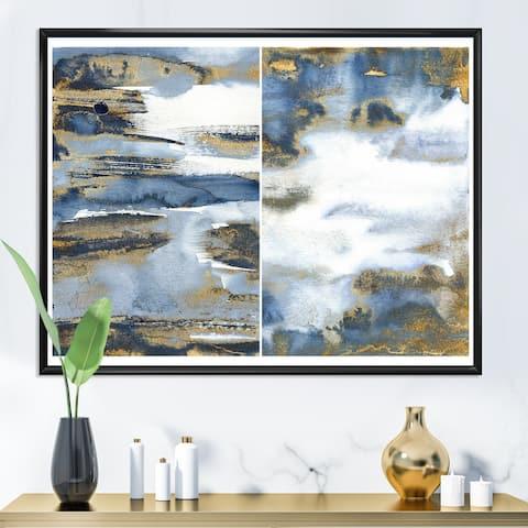 Designart 'Dark Blue and Gold Abstract Waves III' Modern Framed Canvas Wall Art Print