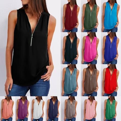 Zipper Sleeveless Loose Chiffon Shirt Vest