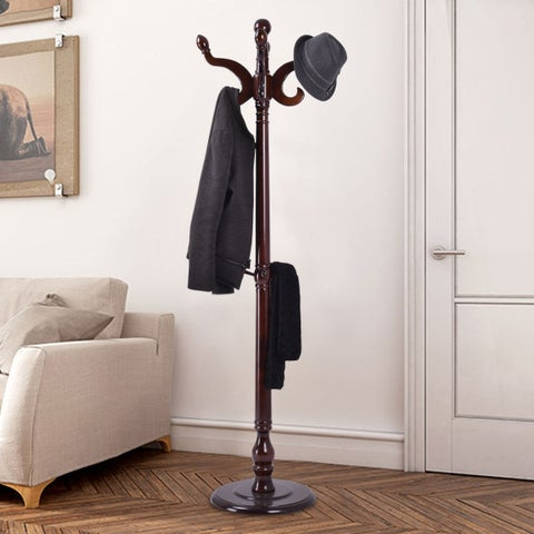 Costway 71'' Wood Hat Coat Rack Hanger Tree Stand Hallway Entry Home Furniture W/ 11Hooks