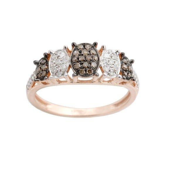 0.32 Total Carat Weight Genuine Brown Diamond With Diamond Designer Ring