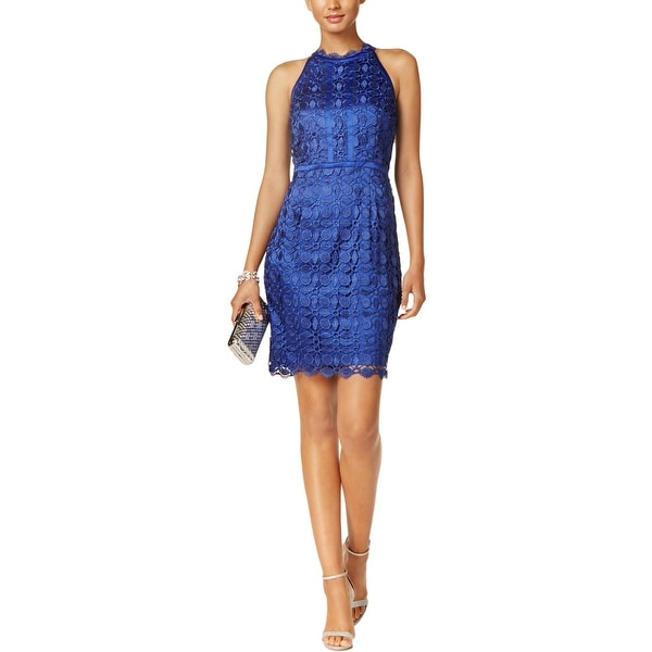 Adrianna Papell Womens Party Dress Lace Halter