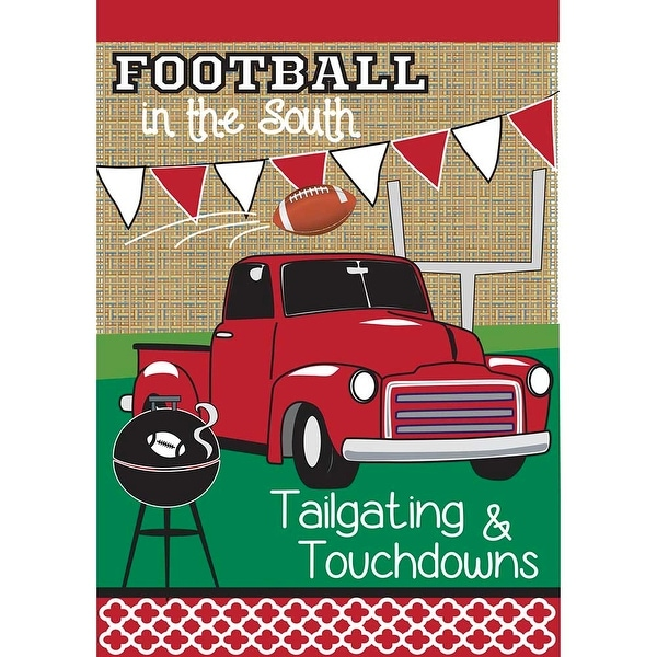Red and White Double Sided Tailgating Burlap Garden Flag 18 x 13 - N/A