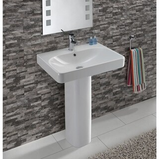 """Bissonnet Smyle 60 Pedestal Smyle 23-5/8"""" Vitreous China Pedestal Bathroom Sink with Single Faucet Hole and Overflow - White"""