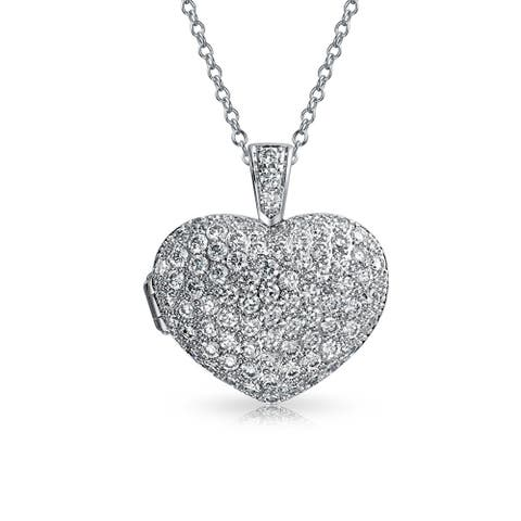 CZ Heart Aromatherapy Essential Oil Perfume Diffuser Locket Necklace - 18