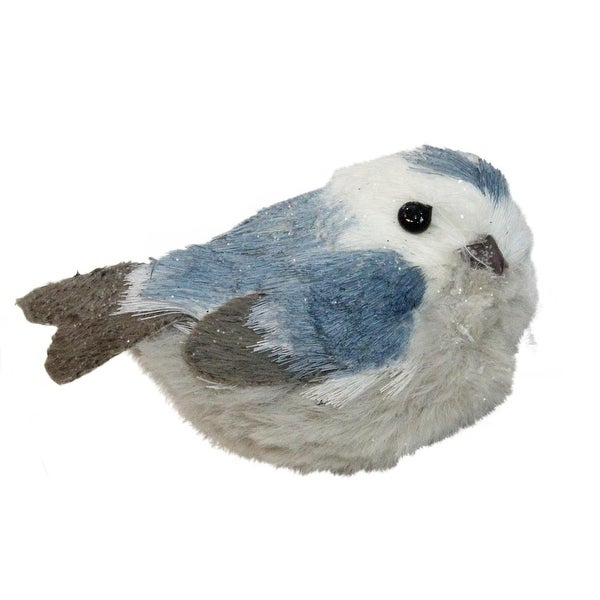 """4.5"""" Winter's Beauty Resting Blue Bird Christmas Table Top Decoration"""