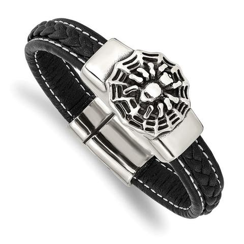Chisel Stainless Steel Antiqued and Polished Spider Black Faux Leather 8.5 Inch Bracelet