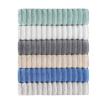 Classic Turkish Plush Ribbed Cotton Bath Towels (Set of 3) - 40x65