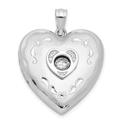 Sterling Silver 24mm Vibrant Swarovski Crystal Brushed and Polished Heart Locket with 18-inch Cable Chain By Versil