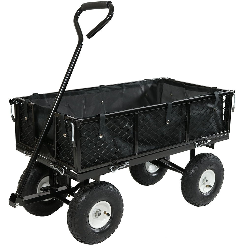 Sunnydaze Utility Cart with Folding Sides and Liner Set - Multiple Colors Available - Thumbnail 0