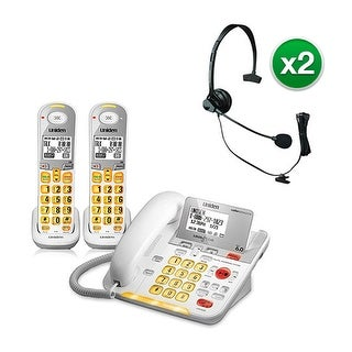 Uniden D3098-2 with Headset DECT 6.0 Amplified Corded/Cordless Phone w/ 1 Extra Handset