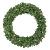 "36"" Pre-Lit Canadian Pine Artificial Christmas Wreath - Clear Lights - green"