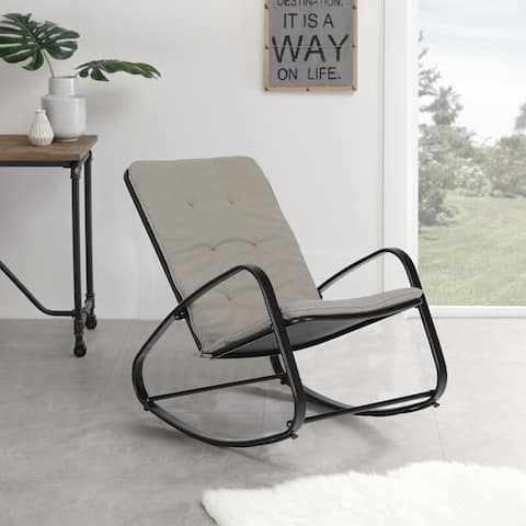 Sophia and William Outdoor Patio Rocking Chair Padded Steel Rocker Chair