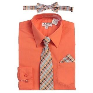 Gioberti Little Boys Coral Tie Bow Tie Handkerchief Dress Shirt 4 Pc Set