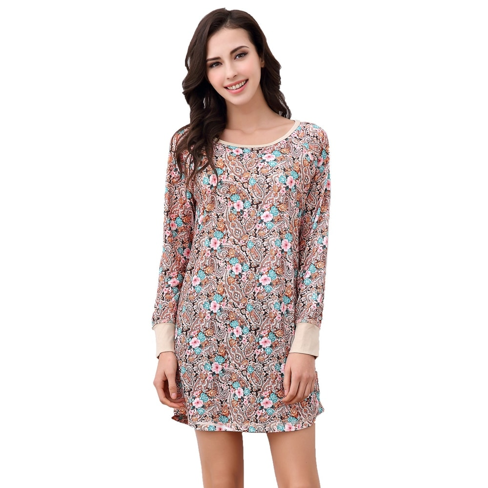 Richie House Womens Print Shirt Dress Pajama Sleepwear