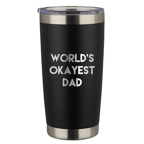 World's Okayest Dad Engraved 20 oz. Stainless Steel Tumbler with Lid