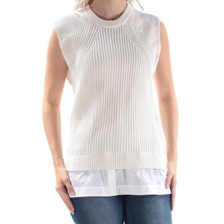 Womens Ivory Sleeveless Crew Neck Casual Sweater Size S