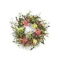 "Pack of 2 Coral Blossom Artificial Pear, Hydrangea & Berry Floral Wreaths 26"" - Green"