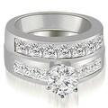 3.40 cttw. 14K White Gold Channel Set Princess Cut Diamond Bridal Set - Thumbnail 0