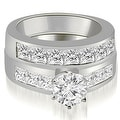 3.40 cttw. 14K White Gold Channel Set Princess Cut Diamond Bridal Set - Thumbnail 0