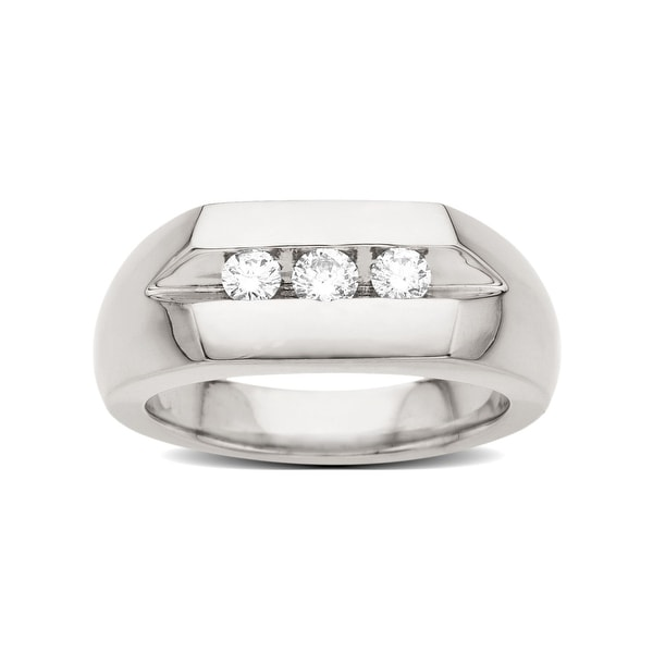 1/2 ct Diamond Trio Men's Ring in Palladium - Size 10 3/4