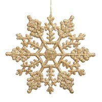 Club Shimmering Gold Glitter Snowflake Christmas Ornaments