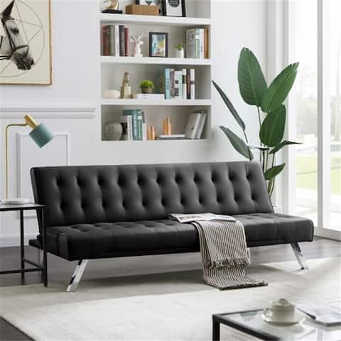 AOOLIVE Modern Sofa Grey PU With Metal Legs
