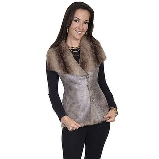 Scully Western Vest Womens Honey Creek Faux Fur Suede Brown