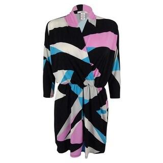 Bar III Women's Dolman Sleeves Faux Wrap Dress - washed white combo