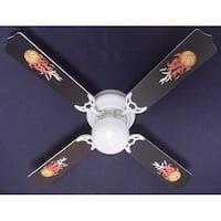 Cool Flaming Footballs Print Blades 42in Ceiling Fan Light Kit - Multi