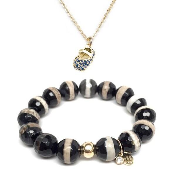 Black & White Agate Bracelet & Blue CZ Baby Shoe Gold Charm Necklace Set