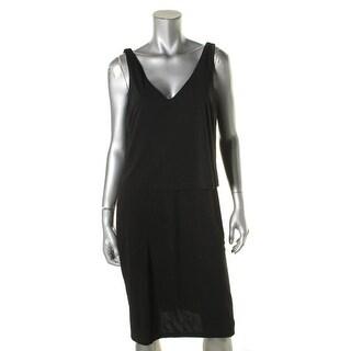 Lauren Ralph Lauren Womens Special Occasion Dress Jersey Layered Black M