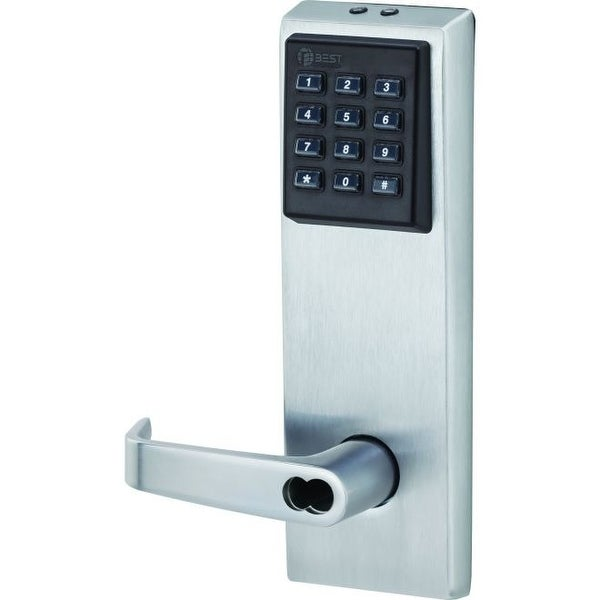 """Best Access 9KZ37DV15KPS3 EZ Series Electronic Keyless Entry Door Lever Set with """"15"""" Lever, """"KP"""" Trim, S3 Strike and 2-3/4"""""""