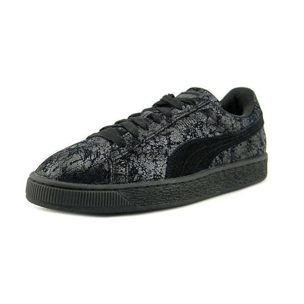 Puma Suede Remaster Women Round Toe Suede Black Sneakers