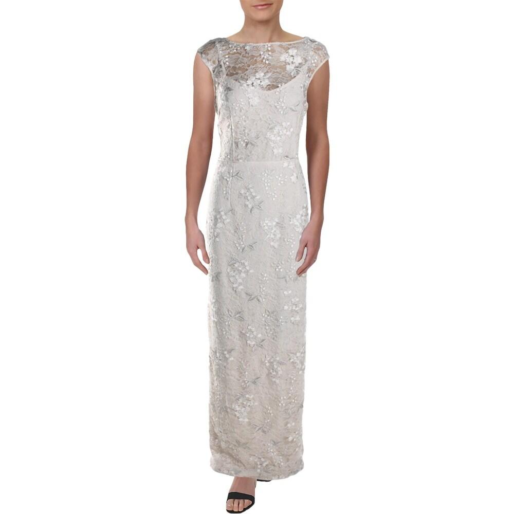 Lauren Ralph Lauren Womens Evening Dress Embroidered Lace - Cashew
