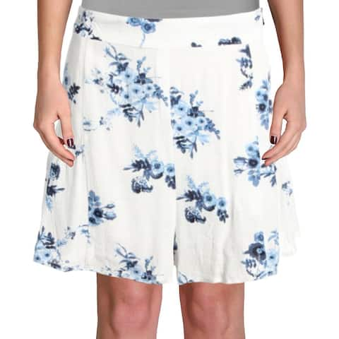 Aqua Womens Shorts Ruffle Floral Print - Indigo Floral