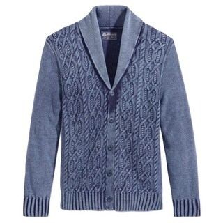 American Rag NEW Blue Mens Size Large L Cable Knit Cardigan Sweater