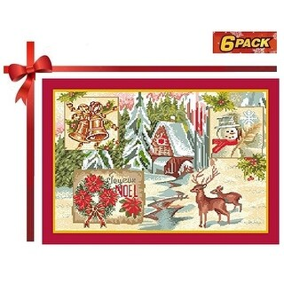 Homvare Holiday Tapestry Set of 6 Placemats - Christmas Scenery