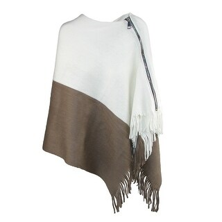 CTM® Women's Two Tone Zipper Oblong Poncho Scarf - One size