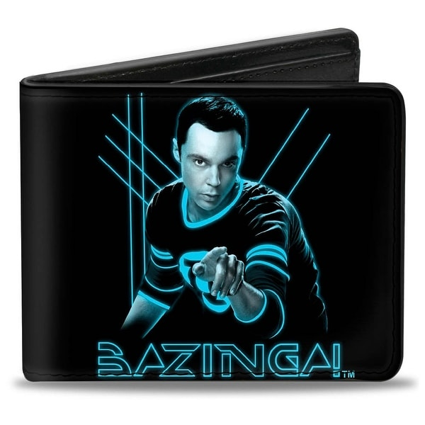 Bi Fold Wallet Sheldon Bazinga! Black Blue Glow Bi Fold Wallet - One Size Fits most