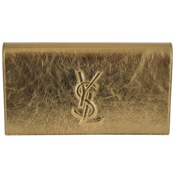 """Saint Laurent YSL 361120 Gold Leather Large Belle de Jour Clutch Handbag - Metallic Gold - 11"""" x 6"""" x 2"""""""