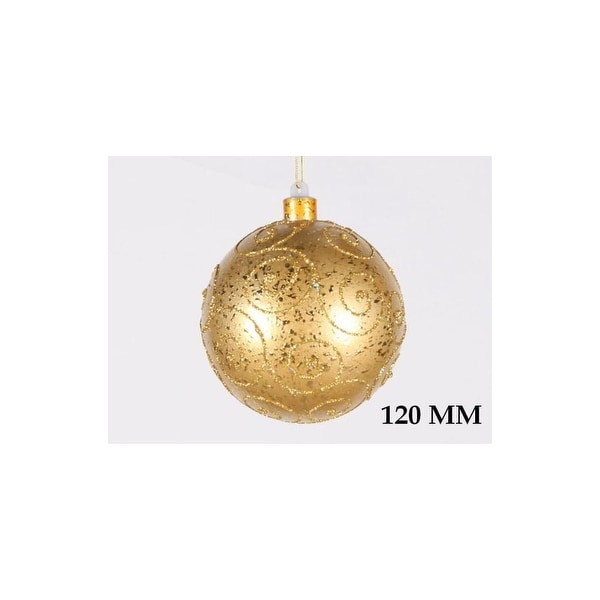 Christmas at Winterland WL-BALL-120-GO 4.7 Inch Ball Ornament Gold with Gold Glitter - N/A
