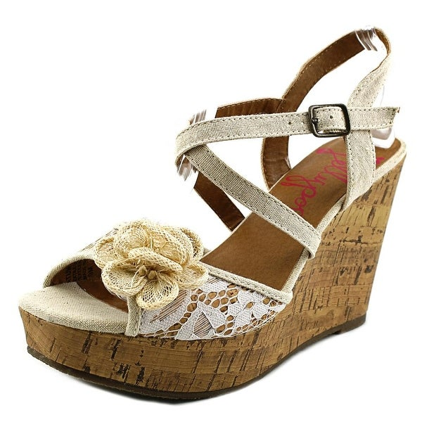 Jellypop Tatum Women Open Toe Canvas Tan Wedge Sandal