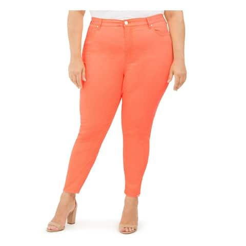 CELEBRITY PINK Womens Orange Zippered Skinny Jeans Size 18W