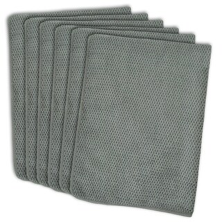 """Set of 6 Solid Gray Textured Patterned Microfiber Dish Towels 19"""" x 16"""""""