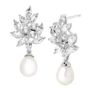 Freshwater Pearl & 4 1/2 ct Created White Sapphire Bouquet Drop Earrings in Sterling Silver